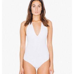 American Apparel White Halter Body Suit